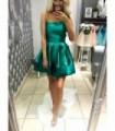 E450 Satynowa Sukienka na Jedno Ramię Butelkowa Zieleń