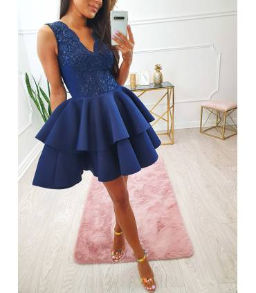 LP71 Klasyczna Sukienka z Łezką Koral