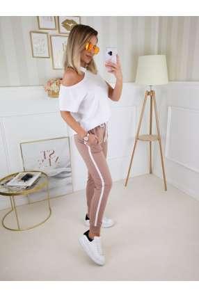 L398 Spodnie dresowe z lampasem Camel