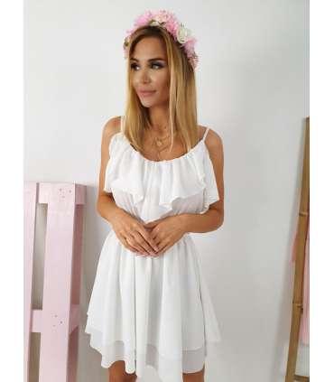 E801 Sukienka IGA z falbankami White