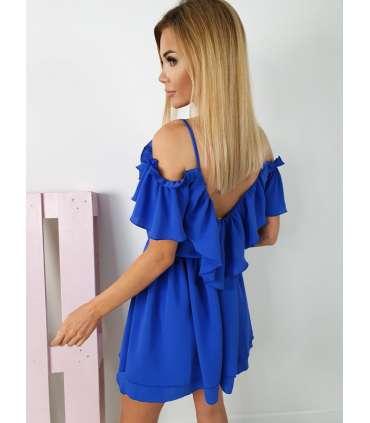 E801 Zwiewna Sukienka IGA z falbankami Kobalt