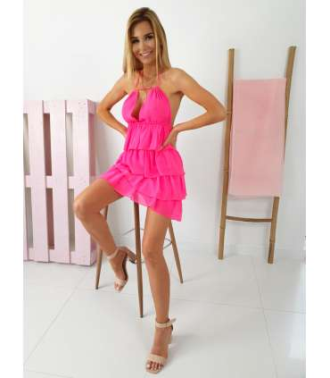LL835 Sukienka Sisi Falbanki Neon Pink