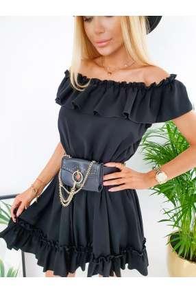 copy of E820 Zwiewna Sukienka Vera z falbankami Black