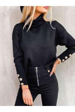 copy of L97 Sweter Gold Button V Black