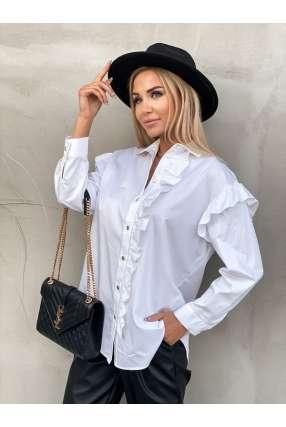 E161 Elegancka Koszula Frill White