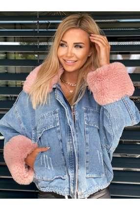 K103 Katana Estilo Jeans Futro Pink