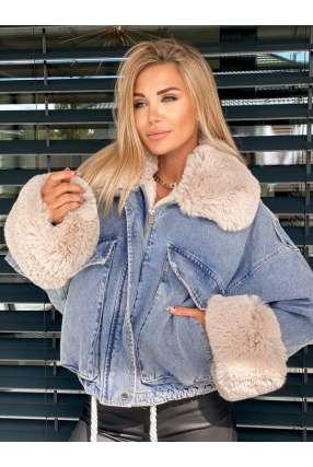 K103 Katana Estilo Jeans Futro Beige