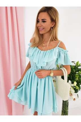 E801 Sukienka IGA z falbankami Mint