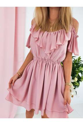 E801 Sukienka IGA z falbankami Puder Pink